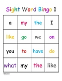 Kindergarten Sight Word Dolch Bingo Beginner Level 1 Harco