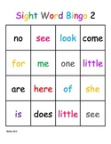 Kindergarten Sight Word Bingo Level 2