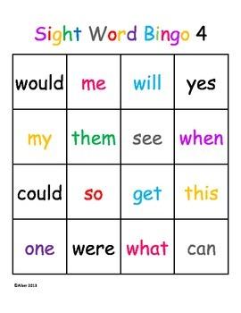 Kindergarten Sight Word Bingo Level 4