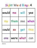 Kindergarten Sight Word Bingo Level 4