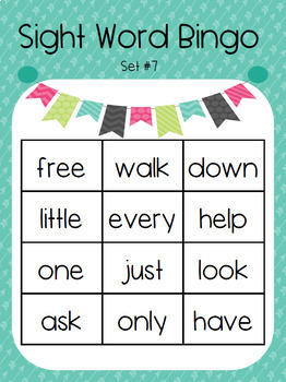 Kindergarten Sight Word Bingo Set 7