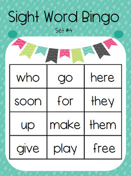 Kindergarten Sight Word Bingo Set 4