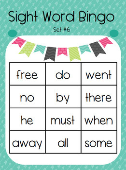 Kindergarten Sight Word Bingo Set 6