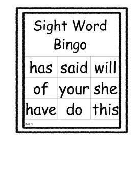 Kindergarten Sight Word Bingo Unit 3