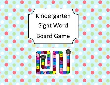 Kindergarten Sight Word Board Game