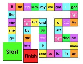 Kindergarten Sight Word Board Games