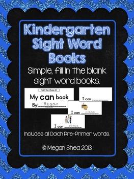 Kindergarten Sight Word Books, Dolch Pre Primer Words