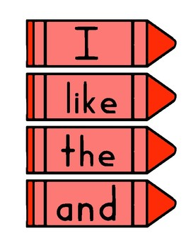 Kindergarten Sight Word Card Bundle - Crayon Theme