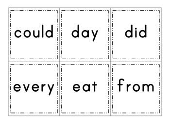 Word Wall Cards: Kindergarten Sight Words