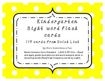 Kindergarten Sight Word Cards-Common Core Aligned
