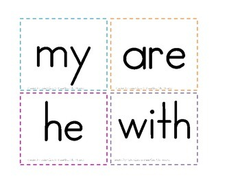 Kindergarten Sight Word Cards- Flash Cards or Word Wall, 40 sight words