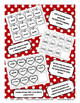 Kindergarten Sight Word Cards - Monthly Themes