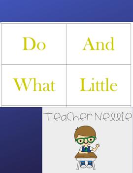 Kindergarten Sight Words Cards- Set Five