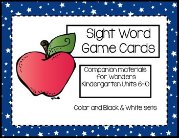 Kindergarten Sight Word Cards for Wonders