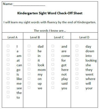 Kindergarten Sight Word Checklist