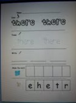 Kindergarten Sight Word Color, Trace, Write, and Make