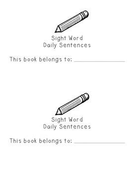 Kindergarten Sight Word Daily Sentence Books