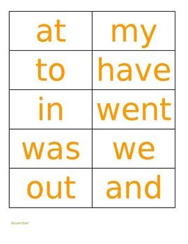Kindergarten Sight Word Flashcards by Month