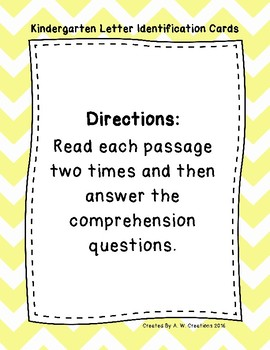 Kindergarten Sight Word Fluency Passages with Comprehension Questions FREEBIE
