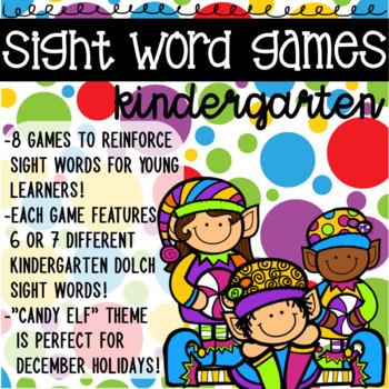 Kindergarten Sight Word Game with Elf Theme