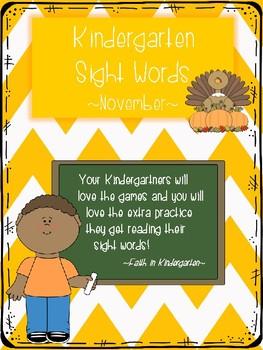 Kindergarten Sight Word Games - November