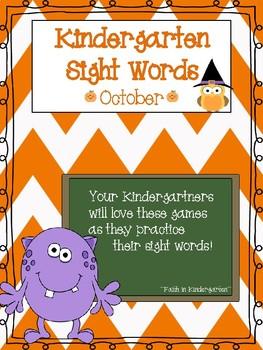 Kindergarten Sight Word Games - October