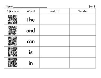Kindergarten Sight Word/ High Frequency Word Activity