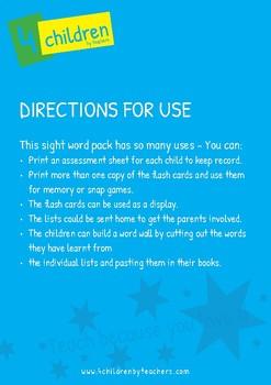Kindergarten Sight Word Pack