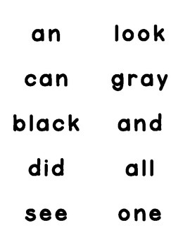 Kindergarten Sight Word Labels