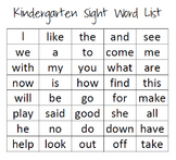Kindergarten Sight Word List