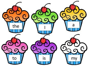 Kindergarten Sight Word List - Cupcake Theme