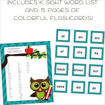 Kindergarten Sight Word List and Flashcards