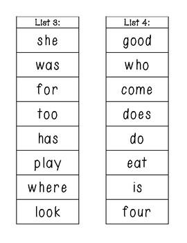Kindergarten Sight Word Lists!