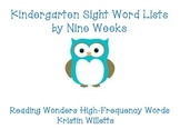 Kindergarten Sight Word Lists using Reading Wonders