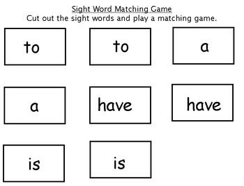 Kindergarten Sight Word Matching Game