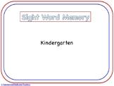 Kindergarten Sight Word Memory
