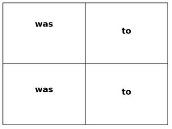 Kindergarten Sight Word Memory Game