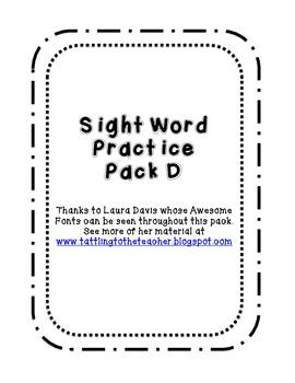 Kindergarten Sight Word Pack D