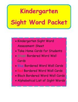 Kindergarten Sight Word Packet w/Word Wall Cards & Assessement