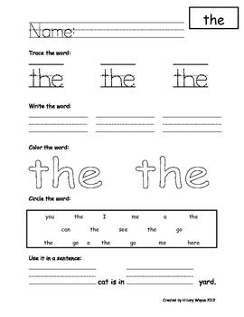 Kindergarten Sight Word Pages