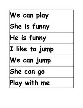 Kindergarten Sight  Word Phrases