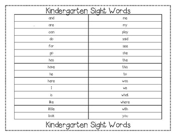 Kindergarten Sight Word Practice