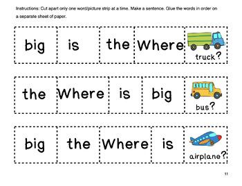Kindergarten Sight Word Sentences