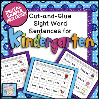 Sentence Building Kindergarten & Boom Cards Reading | Sight Words Kindergarten