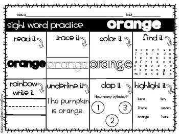 Kindergarten Sight Word Practice Worksheets - Orange Words