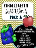 Kindergarten Sight Words: Pack A