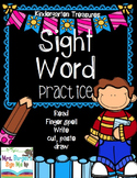 Kindergarten Sight Word Practice, Read, Finger Spell, Write, Draw, Cut and Paste