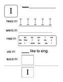 Kindergarten Sight Word Practice Sheets