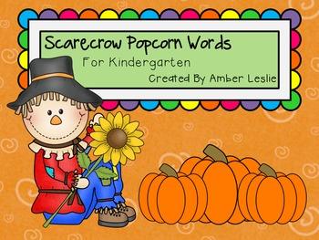 Kindergarten Sight Word Practice Sheets- Scarecrows