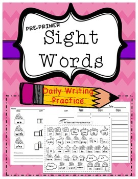 Kindergarten Sight Word ( writing Practice Pre-Primer)